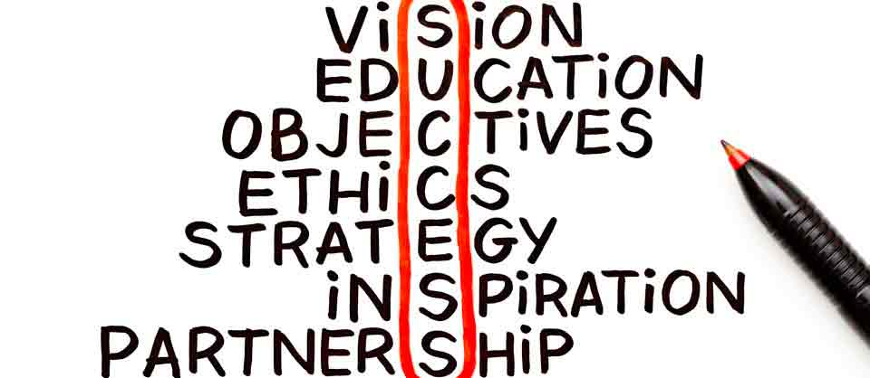 Vision, success, objective, ethics, strategy, inspiration, partnership